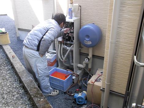 セントラル暖房の設定作業